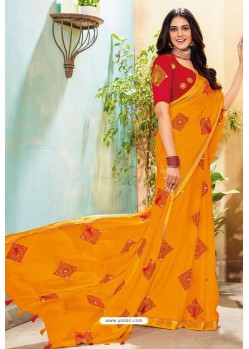 Yellow Chanderi Silk Party Wear Saree