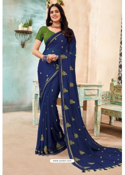 Dark Blue Chanderi Silk Party Wear Saree