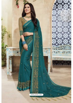 Amazing Teal Chanderi Silk Party Wear Saree