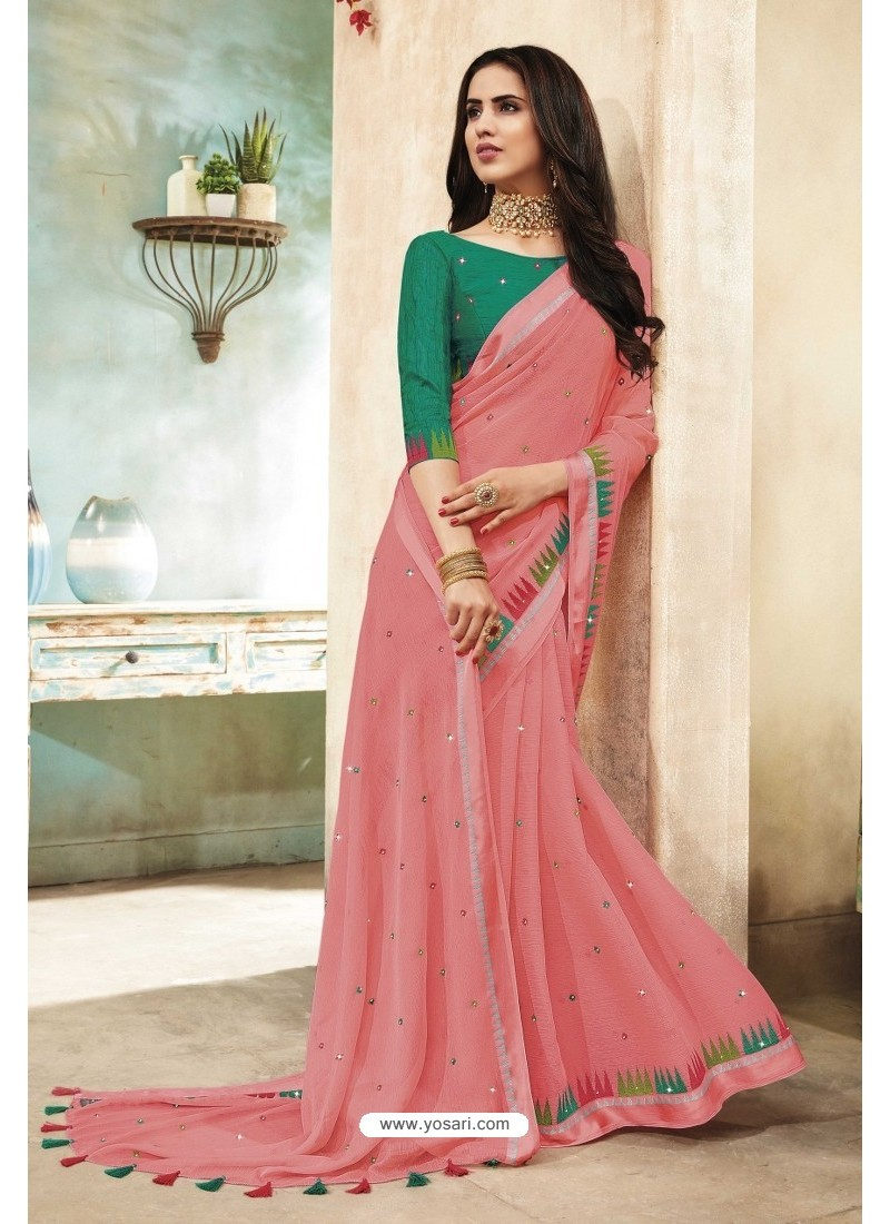 Light Pink Chanderi Silk Party Wear Saree