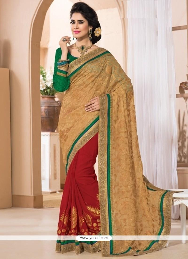 Thrilling Zari Work Shimmer Georgette Contemporary Style Saree