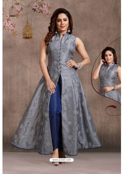 Grey And Blue Party Wear Organza Beads Indo Western Suit