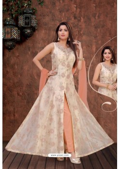 Off White And Peach Party Wear Organza Beads Indo Western Suit