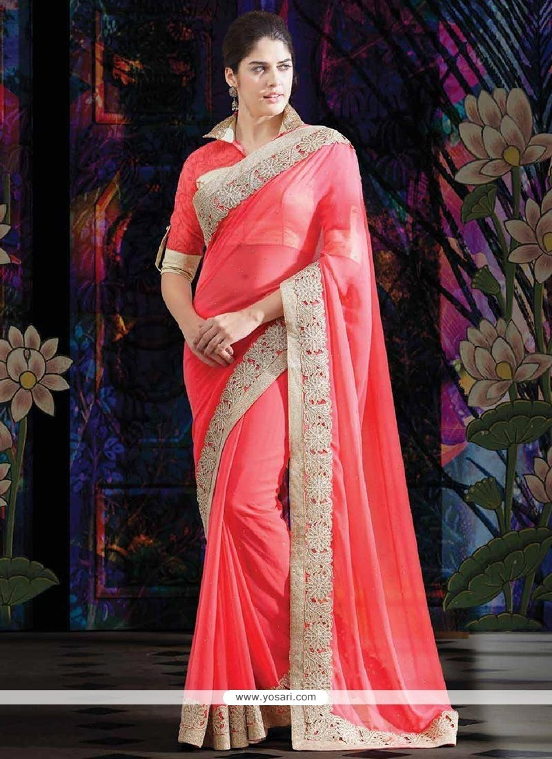 Invigorating Coral Pink Faux Georgette Saree