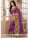 Princely Patch Border Work Tussar Silk Designer Saree