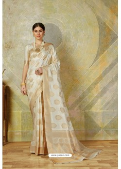 Off White Classic Heavy Weaving Slik Designer Saree