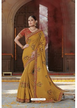 Mustard Tussar Silk Party Wear Designer Saree