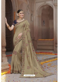 Beige Tussar Silk Party Wear Designer Saree
