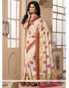 Scintillating Beige Embroidered Work Designer Saree