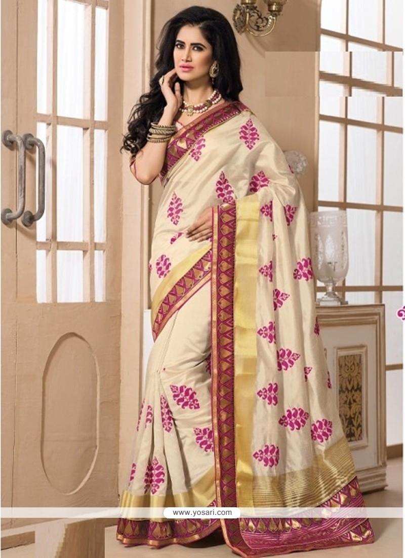Scintillating Beige Embroidered Work Designer Saree