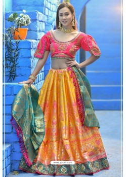Yellow And Pink Designer Banarasi Silk Lehenga Choli