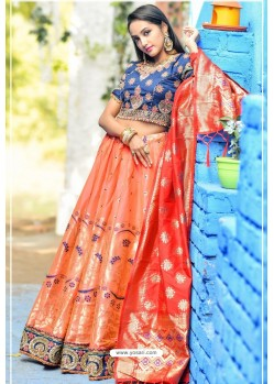 Orange And Navy Designer Banarasi Silk Lehenga Choli