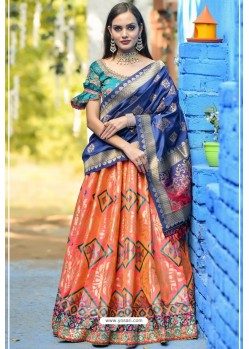 Orange And Teal Designer Banarasi Silk Lehenga Choli