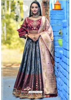 Blue And Maroon Designer Banarasi Silk Lehenga Choli
