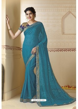 Turquoise Blue Embroidered Chiffon Party Wear Saree