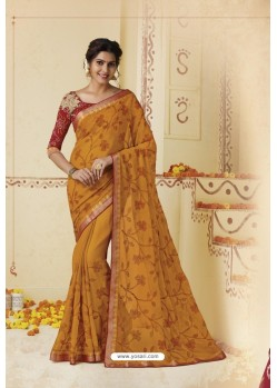 Mustard Embroidered Chiffon Party Wear Saree