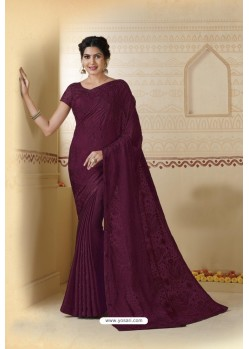 Wine Embroidered Chiffon Party Wear Saree
