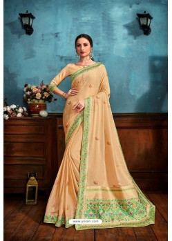 Cream Printed Casual Wear Chiffon Saree