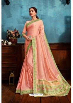 Peach Printed Casual Wear Chiffon Saree