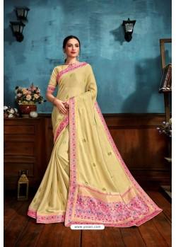Light Yellow Printed Casual Wear Chiffon Saree