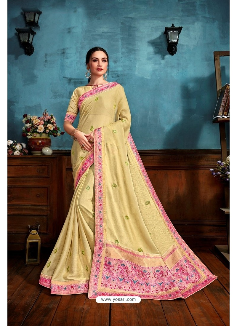 Light Yellow Printed Casual Wear Chiffon Saree