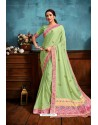 Green Printed Casual Wear Chiffon Saree