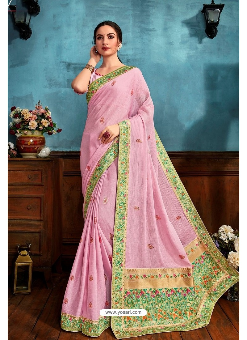 Pink Printed Casual Wear Chiffon Saree