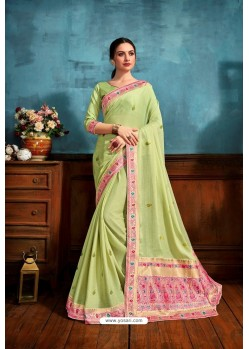 Sea Green Printed Casual Wear Chiffon Saree