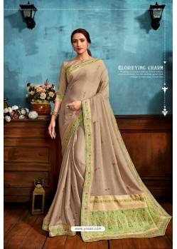 Beige Printed Casual Wear Chiffon Saree