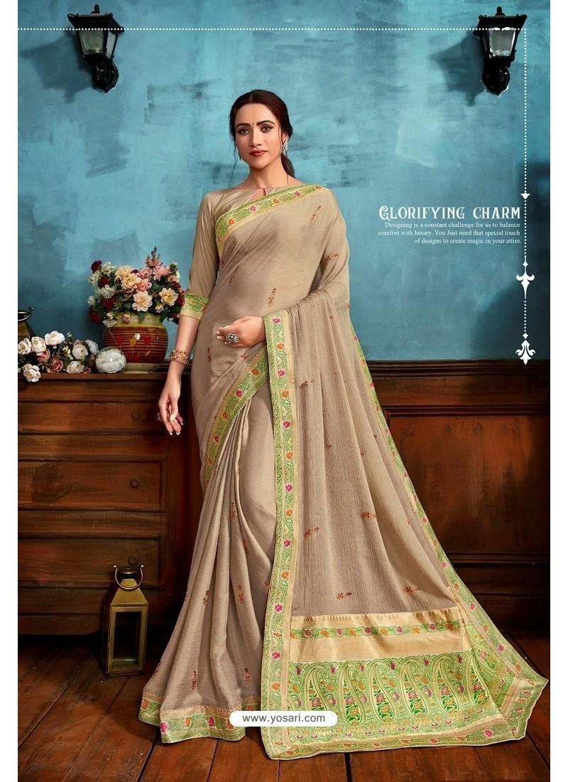 Beige Printed Casual Wear Chiffon Saree