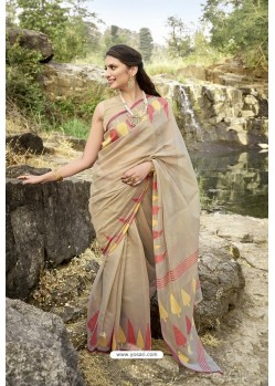 Beige Latest Cotton Jacquard Work Saree