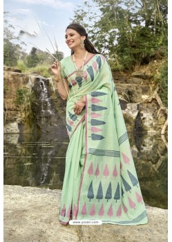 Sea Green Latest Cotton Jacquard Work Saree