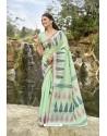 Sea Green Latest Cotton Jacquard Work Saree