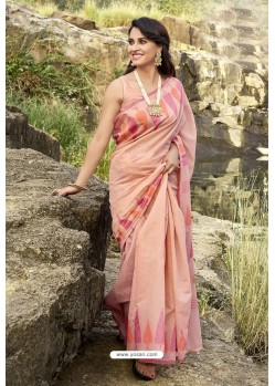Peach Latest Cotton Jacquard Work Saree