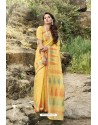 Yellow Latest Cotton Jacquard Work Saree