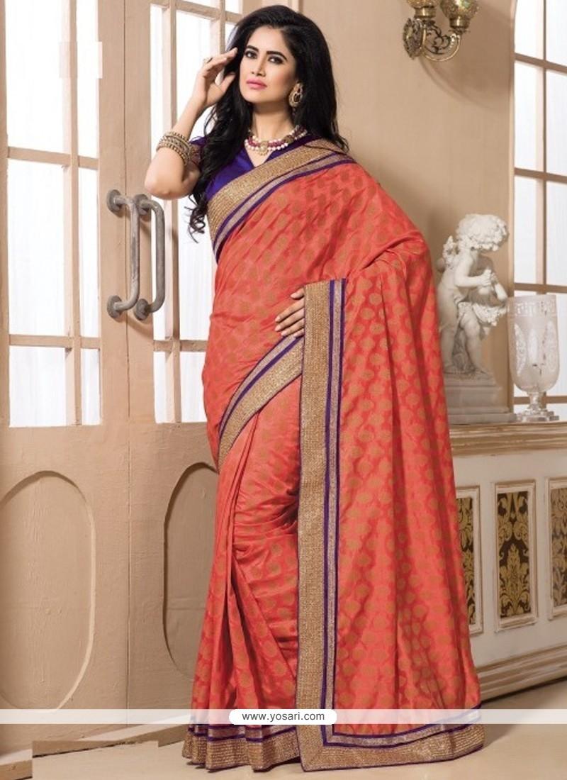 Entrancing Art Dupion Silk Pink Designer Saree