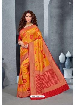Mustard Designer Party Wear Handloom Silk Saree