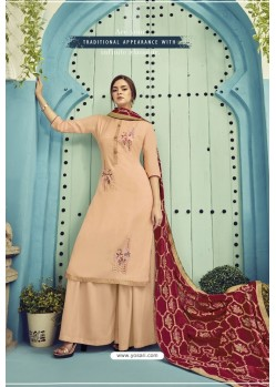 Cream Pure Viscose Maslin Party Wear Palazzo Suit