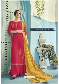 Rani Pink Pure Viscose Maslin Party Wear Palazzo Suit