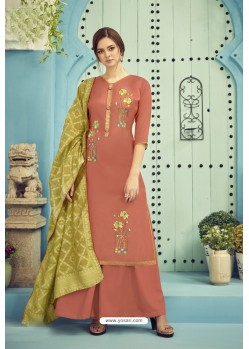 Brown Pure Viscose Maslin Party Wear Palazzo Suit