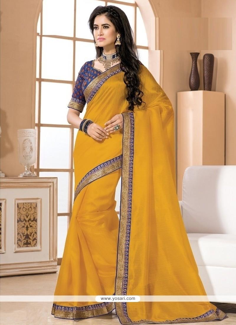 Especial Art Dupion Silk Mustard Lace Work Designer Saree