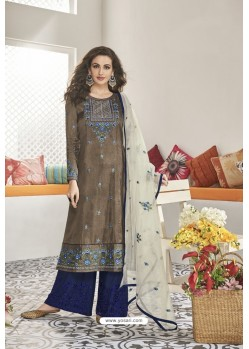 Dark Beige And Blue Maslin Silk Party Wear Designer Palazzo Suit