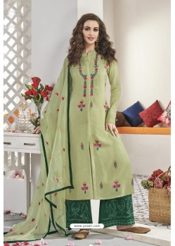Olive Green Maslin Silk Party Wear Designer Palazzo Suit
