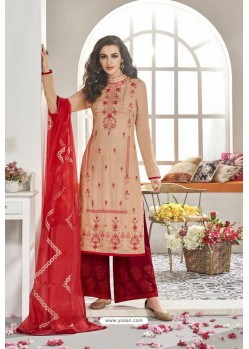 Cream And Red Maslin Silk Party Wear Designer Palazzo Suit