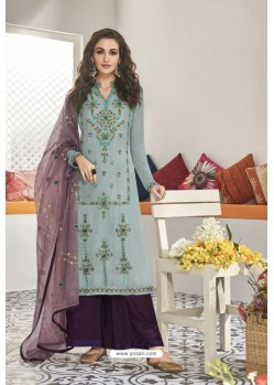 Turquoise And Purple Maslin Silk Party Wear Designer Palazzo Suit