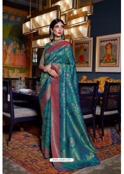 Teal Soft Silk Weaving Party Wear Saree