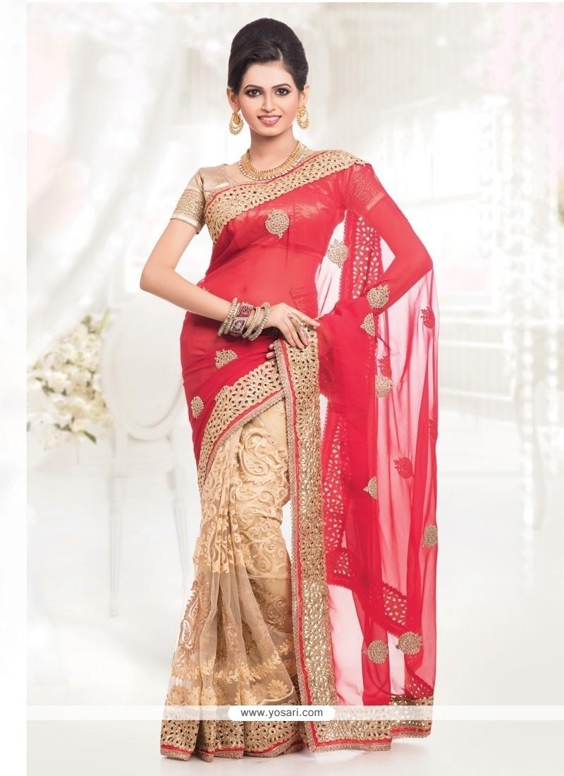 Unique Red And Beige Net Half N Half Designer Saree