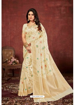 Off White Designer Dola Silk Party Wear Saree