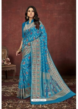 Blue Designer Dola Silk Party Wear Saree