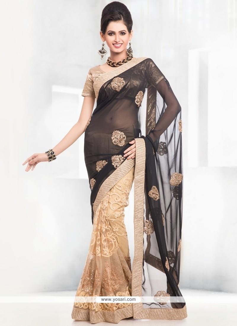 Invigorating Embroidered Work Designer Half N Half Saree